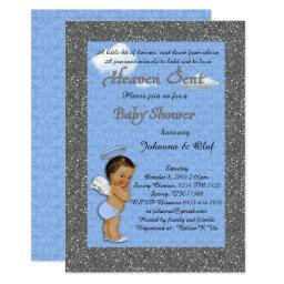 Baby Shower Boy, Baby Angel,blue, Glitter, Silver Invitations