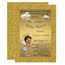 Baby Shower Boy, Baby Angel, Glitter, Gold, Braket Invitations