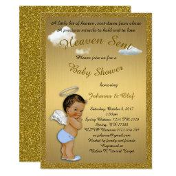 Baby Shower Boy, Baby Angel, Glitter, Gold