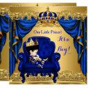 Baby Shower Boy Little Prince Royal Blue Golden 2 Invitation