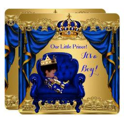 Baby Shower Boy Little Prince Royal Blue Golden