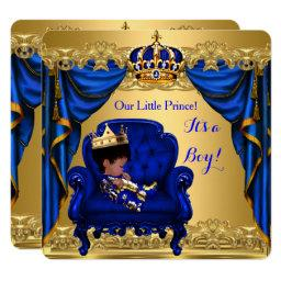 Baby Shower Boy Little Prince Royal Blue Golden Invitations