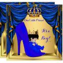 Baby Shower Boy Prince Royal Blue Shoe Gold 5 Invitation