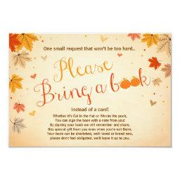 Baby Shower Bring a book Fall Autumn Leaves
