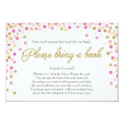 Baby Shower Bring a book Pink Gold Glitter Girl