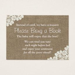 Baby Shower Burlap & Lace Bring a Book Request