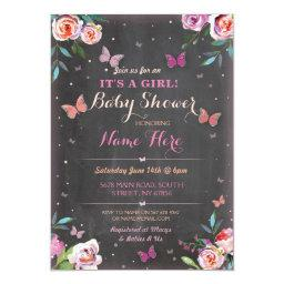 Baby Shower Butterfly It's a Girl or Twins Invite