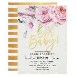 Chic Watercolor Boho Floral Feather