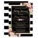 Baby Shower Classy Floral Gold Black White Stripes Invitation