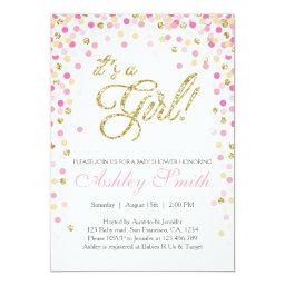 Baby Shower Confetti Pink Gold Glitter
