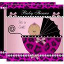 Baby Shower Cute Baby Girl Hot Pink Leopard Invitations