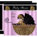 Baby Shower Cute Baby Girl Pink Leopard Bow Invitations