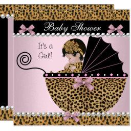 Baby Shower Cute Baby Girl Pink Leopard Bow Invitation