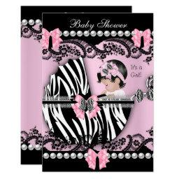 Baby Shower Cute Baby Girl Pink Zebra Lace