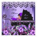 Baby Shower Cute Baby Girl Purple Butterfly 3a Invitation