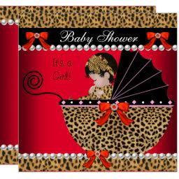 Baby Shower Cute Baby Girl Red Leopard Bow