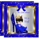 Baby Shower Cute Boy Prince Royal Blue Shoe 6 Invitation