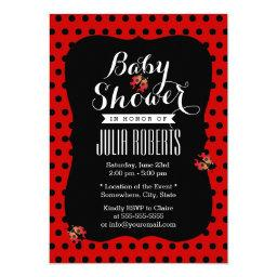 Baby Shower Cute Ladybugs Black & Red Dots
