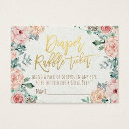 Diaper Raffle Ticket Watercolor Floral