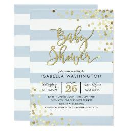 Elegant Gold Confetti & Blue Stripes