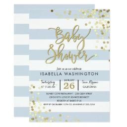 Baby Shower | Elegant Gold Confetti & Blue Stripes