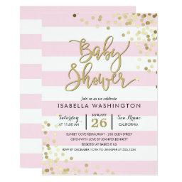 Elegant Gold Confetti & Pink Stripes