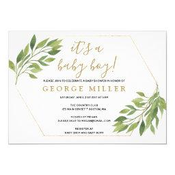 Baby Shower Elegant Greenery And Gold