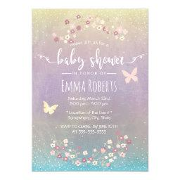 Baby Shower Elegant Watercolor Butterfly Floral