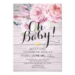 Baby Shower Elegant Watercolor Floral Rustic Wood