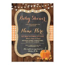 Baby Shower Fall Pumpkin Autumn Check Invite