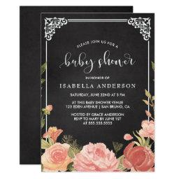 Baby Shower | Floral Bouquet & Frame on Chalkboard