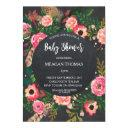 Baby Shower Floral Modern Chalkboard Feather