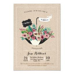 Baby Shower Flower Umbrella Simple Design Invite