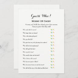 Baby Shower Games - Wishes For Baby And Guess Who Invitation