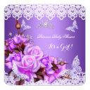 Baby Shower Girl Butterfly Purple Pink Lilac Roses Invitation