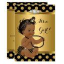 Baby Shower Girl Gold Foil Black Pearls Ethnic Invitation