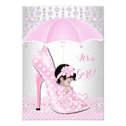 Girl Pink Baby Shoe Diamond A4