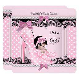 Baby Shower Girl Pink Polka Dots High Heel Shoe 4
