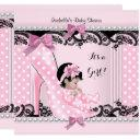 Baby Shower Girl Pink Polka Dots High Heel Shoe 4 Invitation