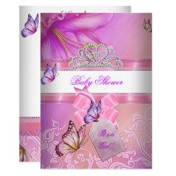 Baby Shower Girl Pink Purple Princess Butterfly 2