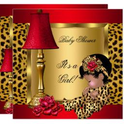 Baby Shower Girl Red Gold Roses Leopard Aa Invitation