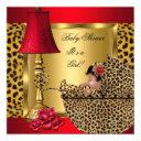 Baby Shower Girl Red Gold Roses Leopard Pram Aa Invitations