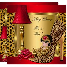 Baby Shower Girl Red Gold Roses Leopard Shoe 1