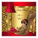 Baby Shower Girl Red Gold Roses Leopard Shoe Aa Invitation