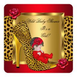 Girl Red Roses Gold Wild Leopard 3
