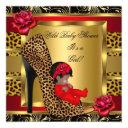 Baby Shower Girl Red Roses Gold Wild Leopard 3 Invitations