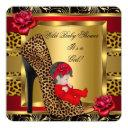 Baby Shower Girl Red Roses Gold Wild Leopard 3a Invitations