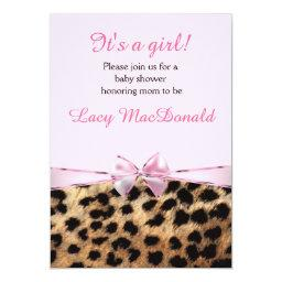 Baby Shower Girls Pink Bow Leopard Cheetah Invite