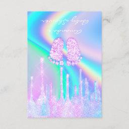 Baby Shower Girly Feet Glitter Drips Unicorn Holog Invitation