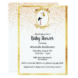 Baby Shower gold frame and stork white confetti